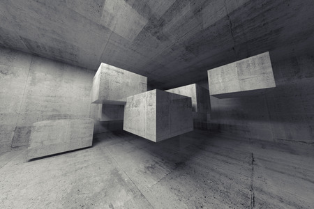 hangar: Abstract concrete 3d interior with big flying cubes