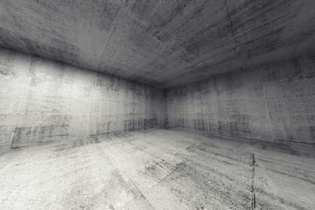 concrete construction: Empty room, abstract concrete 3d interior. Wide angle rendering