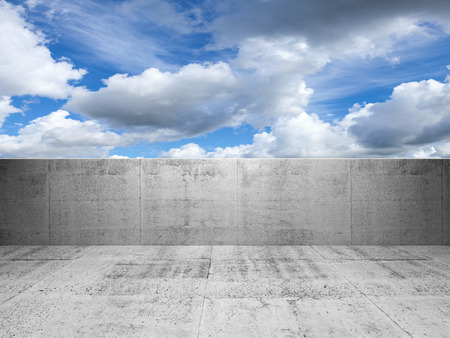 Abstract concrete 3d interior with blue cloudy sky