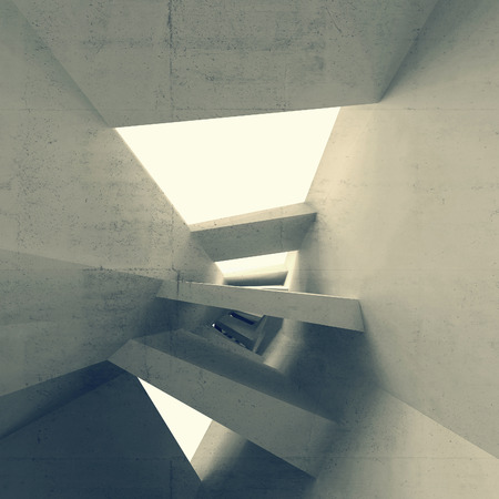 Gray abstract 3d empty interior with glowing light portals and bent perspective photo