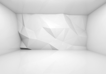 Abstract white 3d interior with polygonal relief pattern on frontal wall