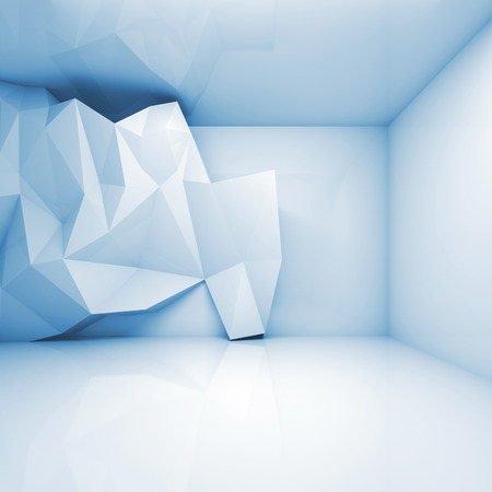 frontal: Abstract light blue 3d interior with polygonal relief pattern on frontal wall Stock Photo