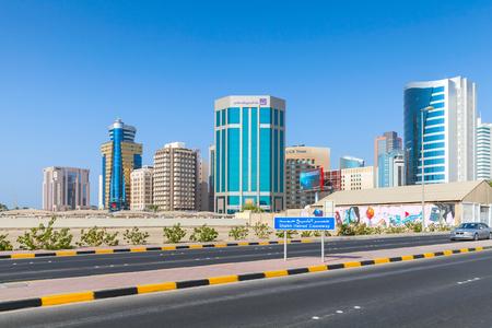 causeway: Manama, Bahrain - November 21, 2014: Shaikh Hamad Causeway. Street view of Manama city, Capital of Bahrain