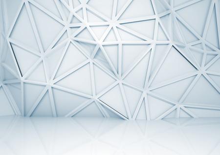 Abstracte lichtblauwe 3d interieur met veelhoekige reliëf patroon op de muur