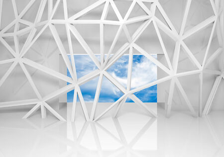 construction mesh: Abstract white room interior with sky in the window and chaotic 3d mesh construction