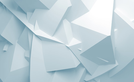 Abstract blue and white digital 3d chaotic polygonal surface background texture