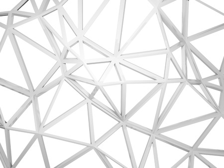 architecture design: Abstract 3d wired construction with chaotic triangles shape isolated on white background Stock Photo