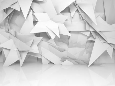 Abstract white empty 3d interior with chaotic triangle polygonal pattern on the wall