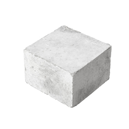 strong foundation: Big concrete construction block isolated on white background Stock Photo