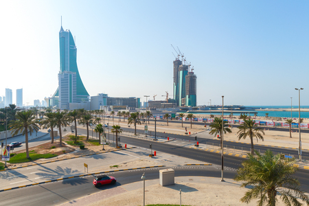 Manama, Bahrain - November 21, 2014: Skyscrapers towers are under construction  in Manama city, Capital of Bahrain. Middle East
