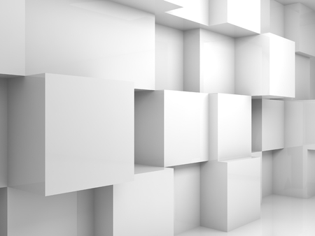 Abstract empty white 3d interior with cubes on the wall