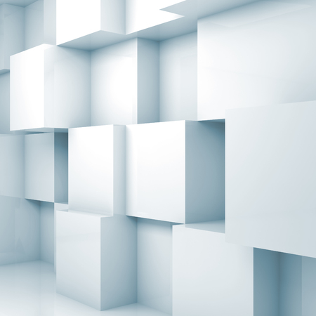 digital modern: Abstract background with empty 3d interior with white cubes on the wall Stock Photo