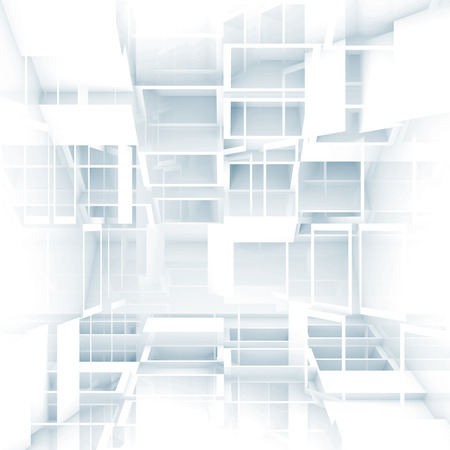 Abstract digital 3d square background texture with chaotic white cubes pattern