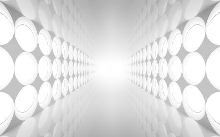 tunnel: Extracto blanco 3d interior con decoraci�n de luces ronda patr�n en la pared
