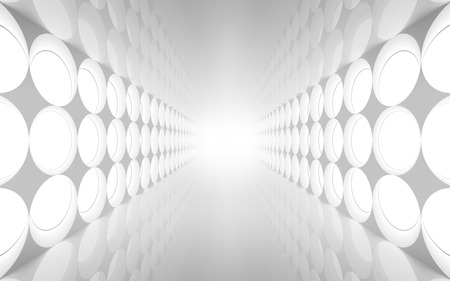 White abstract 3d interior with round decoration lights pattern on the wall
