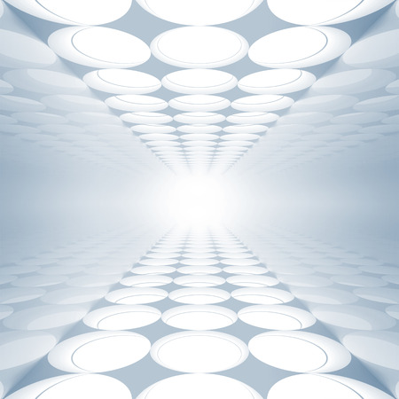 Blue abstract 3d interior with round decoration lights pattern on floor and ceiling