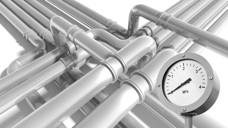 manometer: Modern gray steel industrial metal pipeline fragment with zero pressure manometer indication Stock Photo