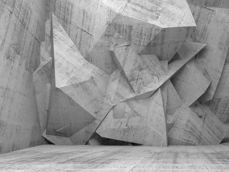 Abstract empty concrete 3d interior with chaotic polygonal relief pattern on the wall 스톡 콘텐츠
