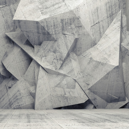 surreal: Abstract concrete 3d interior with chaotic polygonal relief pattern on the wall Stock Photo