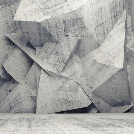 arquitectura: Hormigón interior 3d abstracto con diseño en relieve poligonal caótica en la pared
