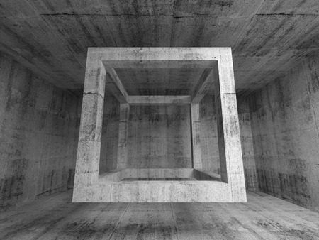 celling: Abstract dark gray concrete room interior. 3d background illustration with flying empty beam cube structure