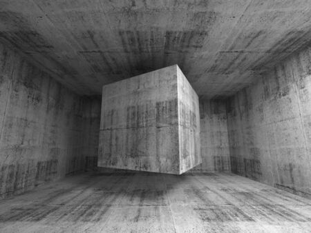 concrete block: Abstract dark gray concrete room interior. 3d background illustration with flying cube Stock Photo