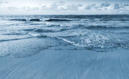 sea green: Landscape of Atlantic ocean coast. Dominican republic, Punta Cana. Blue toned photo filter effect