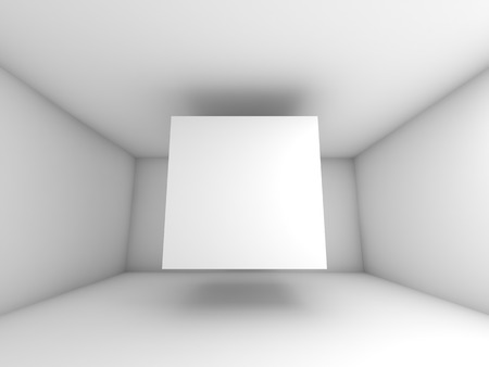 decor graphic: Abstract white room interior with flying cube. 3d background illustration Stock Photo