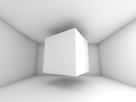 surreal: Abstract white room interior. 3d background illustration with flying cube