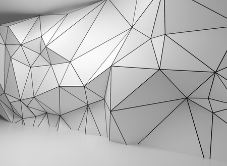 Abstract white 3d interior with polygonal wireframe relief pattern on the wall Imagens