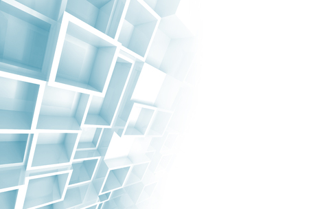 Abstract white and blue 3d background with relief cube pattern on the wall and blank copy space photo