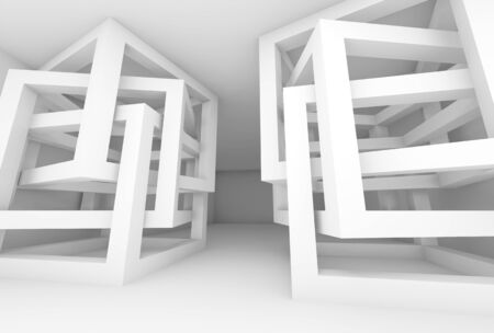 chaotic: Abstract empty 3d white modern interior with chaotic cube constructions Stock Photo