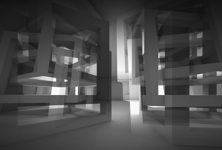 Abstract 3d black modern interior with chaotic cube constructions and glowing end photo
