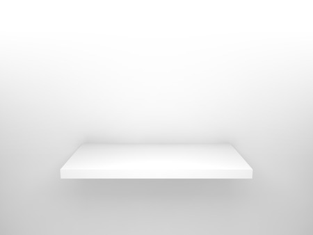 Abstract 3d design element, empty white shelf with soft shadow on the wall