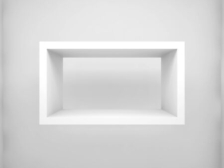 white shelf: Abstract 3d design element, empty rectangle white shelf with soft shadow on the wall