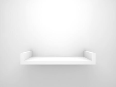 Abstract 3d design element, empty white shelf with soft shadow mounted on the wall