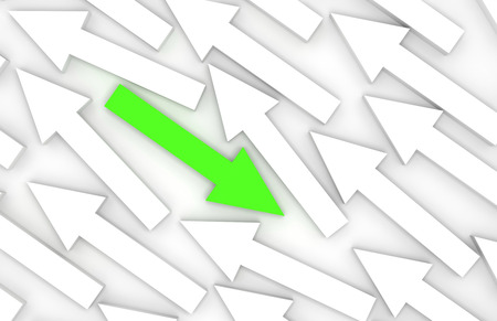 adversary: Abstract 3d illustration, one green arrow goes opposite in white group