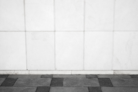 photo backdrop: Abstract white urban background interior with tiling on the wall and road pavement