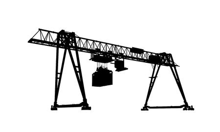 gantry: Container bridge gantry crane. Black silhouette isolated on white background, 3d model rendering