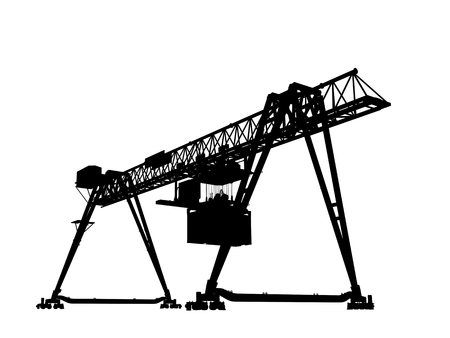gantry: Container bridge gantry crane. Black silhouette isolated on white background, render of 3d model, wide angle perspective view