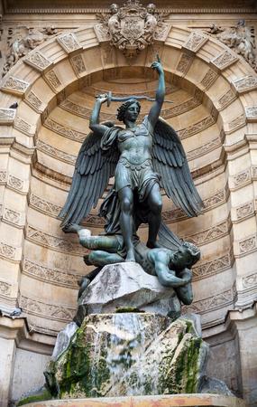 fontaine: Fontaine Saint-Michel in Paris, France. Popular historical landmark Stock Photo
