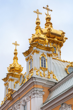build in: Church of Saints Peter and Paul in Peterhof, St. Petersburg, Russia. Vertical photo fragment. It was build in 1747-1751 by Rastrelli architect Stock Photo