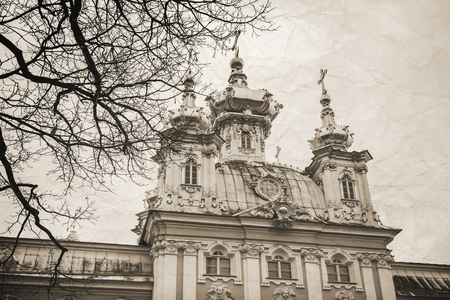 build in: Church of Saints Peter and Paul in Peterhof, St. Petersburg, Russia. It was build in 1747-1751 by Rastrelli architect. Vintage stylized monochrome photo Stock Photo