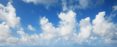 panoramic nature: Blue sky with white clouds, abstract panoramic nature background