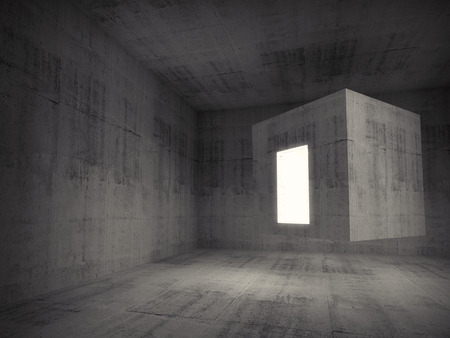 the concrete: Abstract dark gray concrete room interior. Flying cube with glowing entrance. 3d concept background illustration