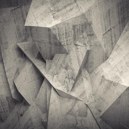 抽象的なコンクリート壁に混沌とした多角形レリーフ パターン 3 d 背景
