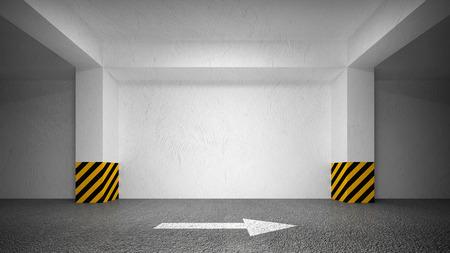 抽象的な空地下のインテリアは、白い壁を駐車