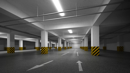 vacant sign: Empty 3d dark underground parking abstract interior Stock Photo