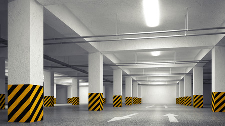 3d empty underground parking abstract interior perspective photo