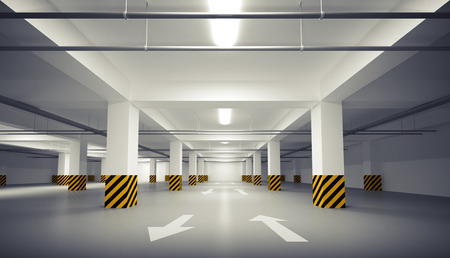 3d Abstract empty white underground parking interior
